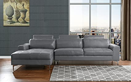 Amazoncom Modern Large Leather Sectional Sofa L Shape Couch With