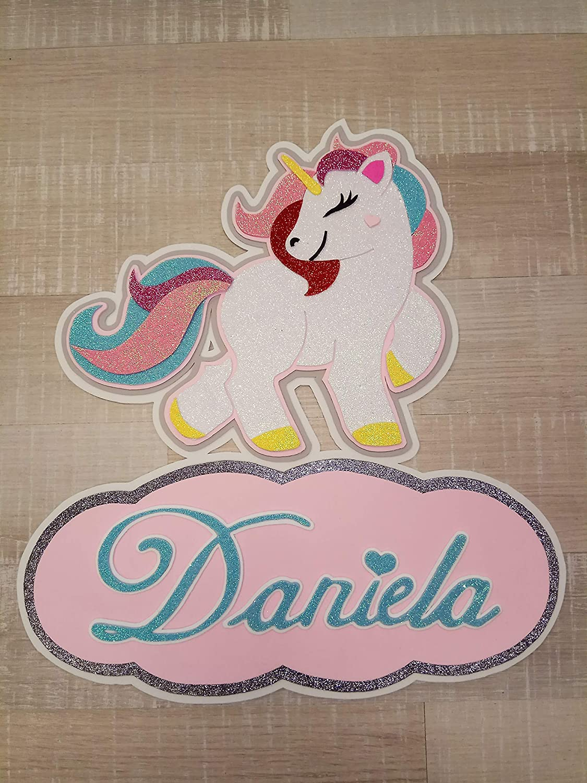 Cartel goma eva unicornio personalizable 40cm: Amazon.es ...
