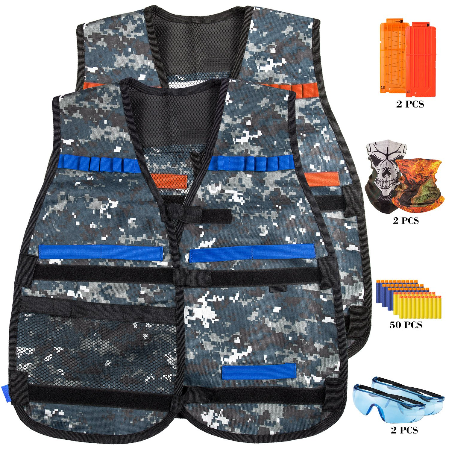 YaFex Tactical Vest Kit, Kids Elite Tactical Vest for Nerf Guns N-Strike Elite Series with 2 Quick Reload Clips, 2 Protective Glasses, 50 foam bullets and 2 Face Tube Mask by YaFex
