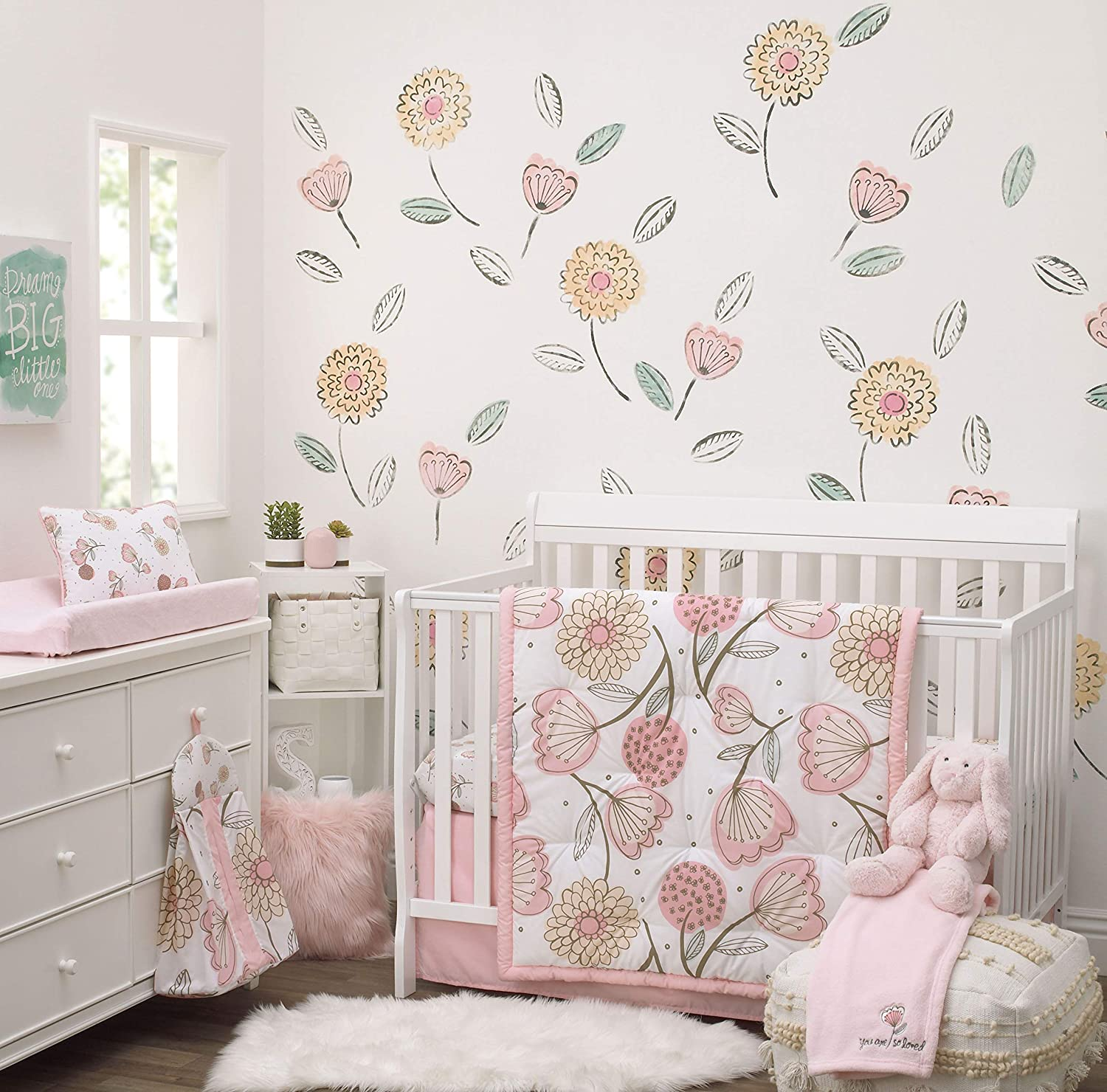 NoJo Beautiful Floral - Pink, Grey, White 10 Piece Crib Nursery Bedding Set - Comforter, 2 Fitted Crib Sheets (2 Prints), Dust Ruffle, Decorative Pillow, Diaper Stacker, Baby Blanket, Changing Pad Co