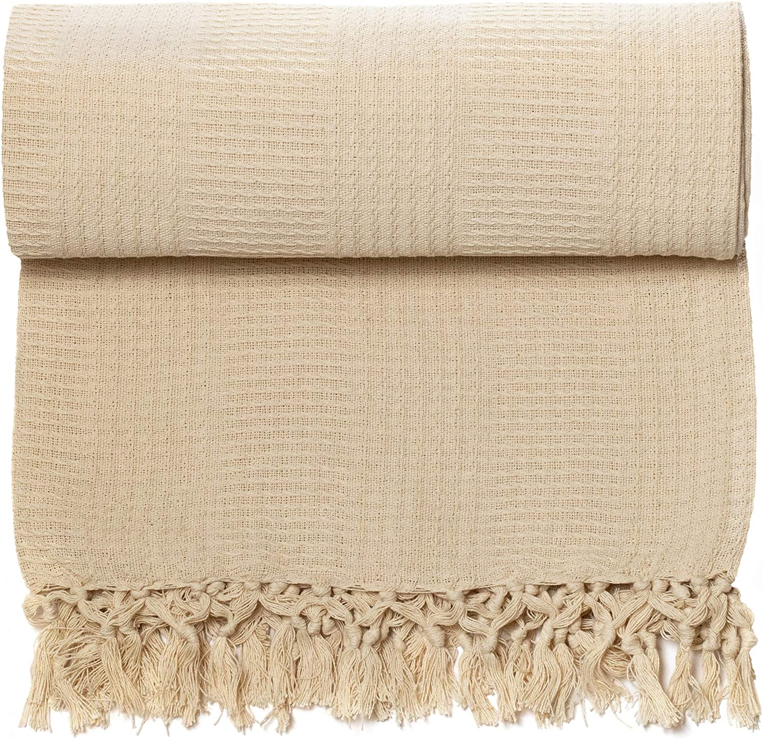 Organic Cotton Throw Blanket by Whisper Organics - G.O.T.S. Certified (60x80, Natural)
