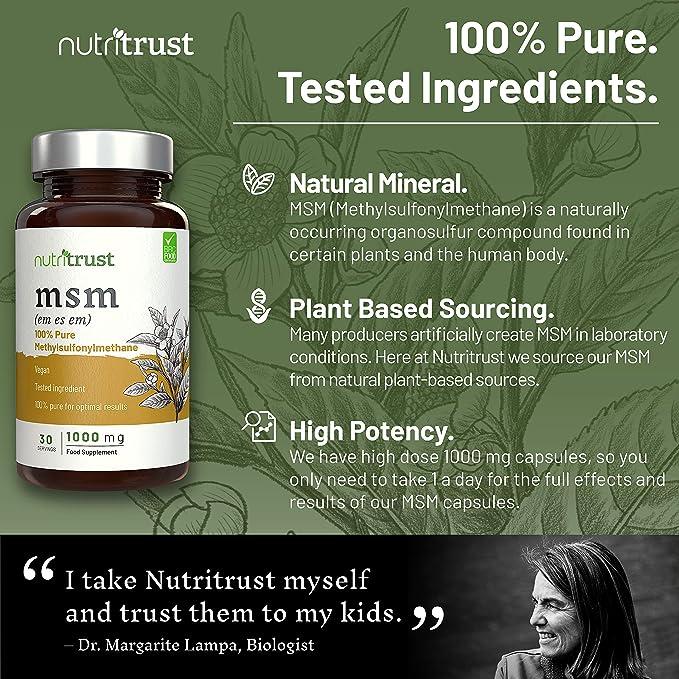 MSM 1000 mg Cápsulas de Nutritrust®- Methylsulfonylmethane 100% puro - Ingrediente probado por laboratorio y aprobado por el médico - Obtención a base de ...