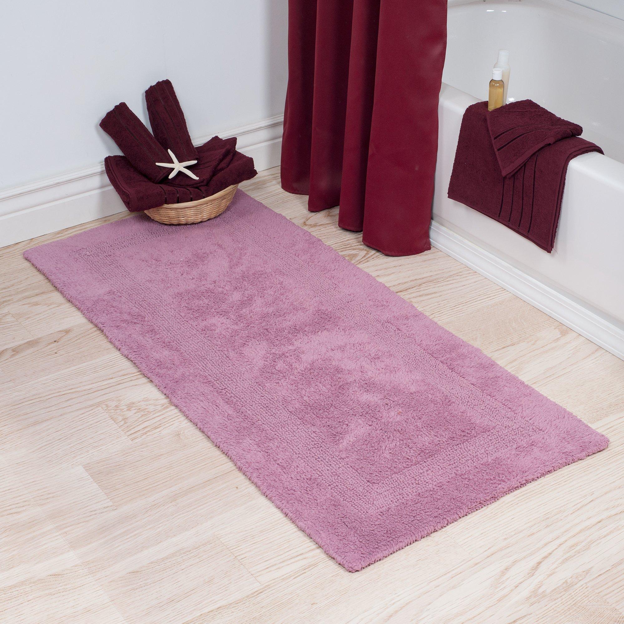Lavish Home Cotton Bath Mat- Plush 100 Percent Cotton 24x60 Long Bathroom Runner- Reversible, Soft, Absorbent, and Machine Washable Rug (Rose)