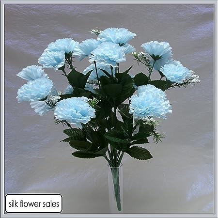 18 Head Baby Blue Carnation Artificial Silk Bush Wedding Grave Vase