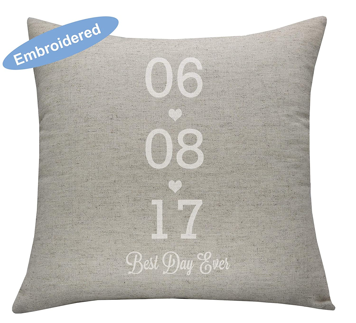 YugTex Pillowcases Best Day ever Embroidered Pillow Cover, Christmas Gifts, Bridal Shower Gift, Personalized Husband Gift, Groom Gift, Bride Gift, Lovers Gift, Valentines Gift,best day date pillow