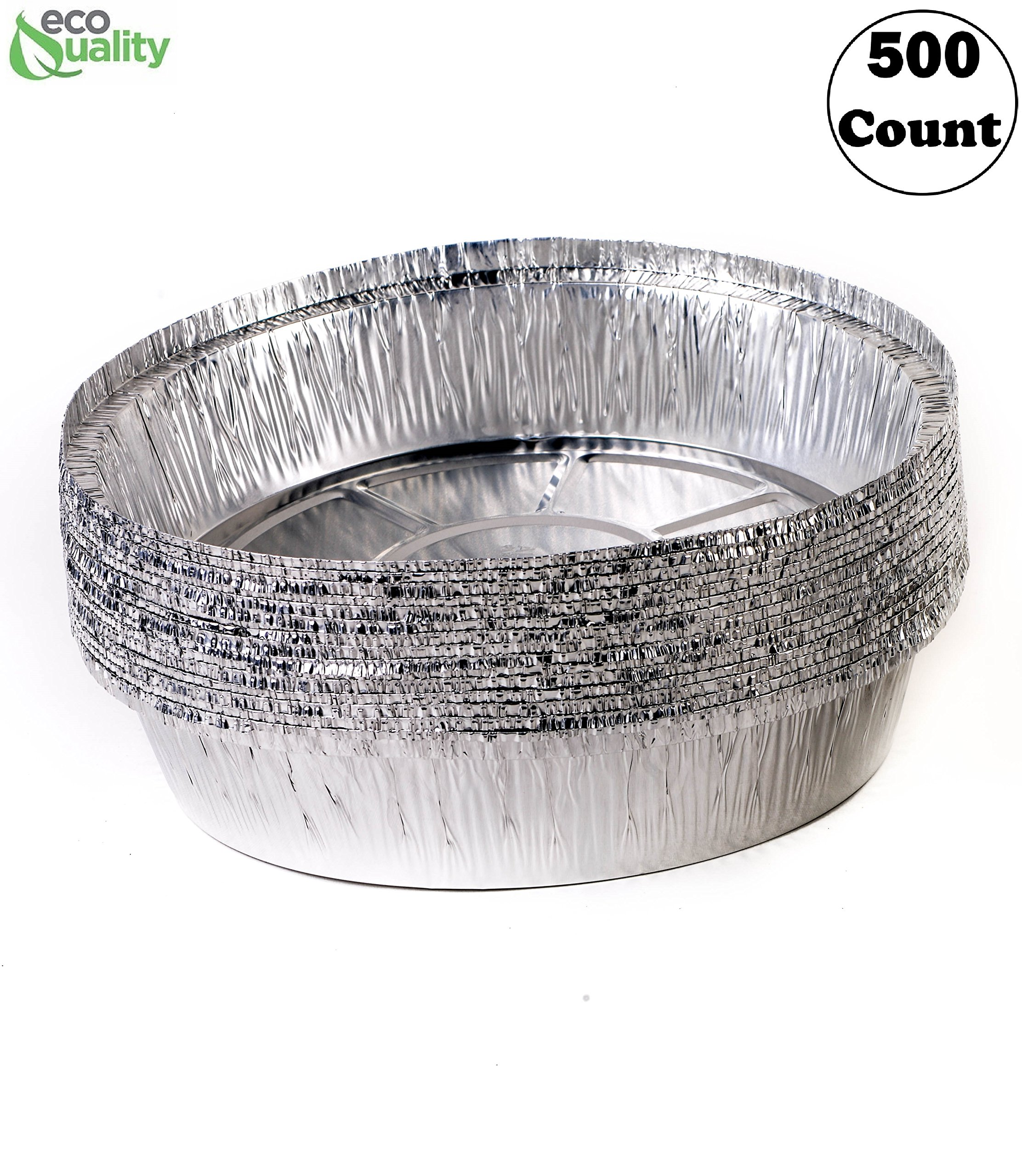 EcoQuality (500 Pack) - 7 Inch Disposable Round Aluminum Foil Take-Out Pans - Disposable Tin Containers, Perfect for Baking, Cooking, Catering, Parties, Restaurants (No Lids)