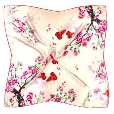 Écharpe Carrée En Soie Épaisse Imprimée Fleur Rose Crème