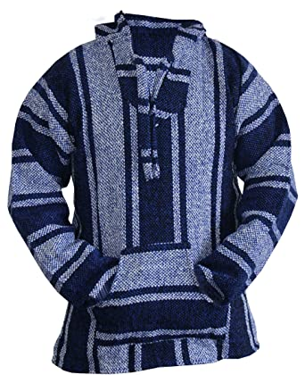 Mexican Baja Hoodie Sweater Jerga Pullover Blue Unisex (Small)