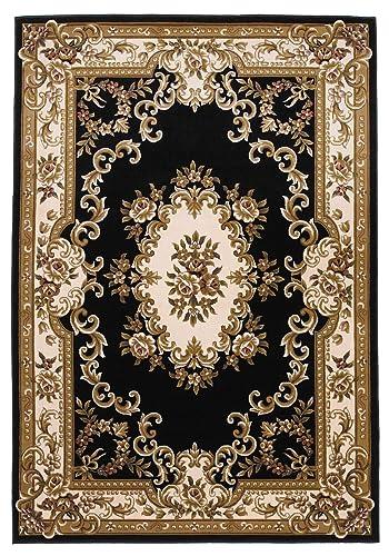 KAS Oriental Rugs Corinthian Collection Aubusson Area Rug, 2 3 x 3 3 , Black Ivory