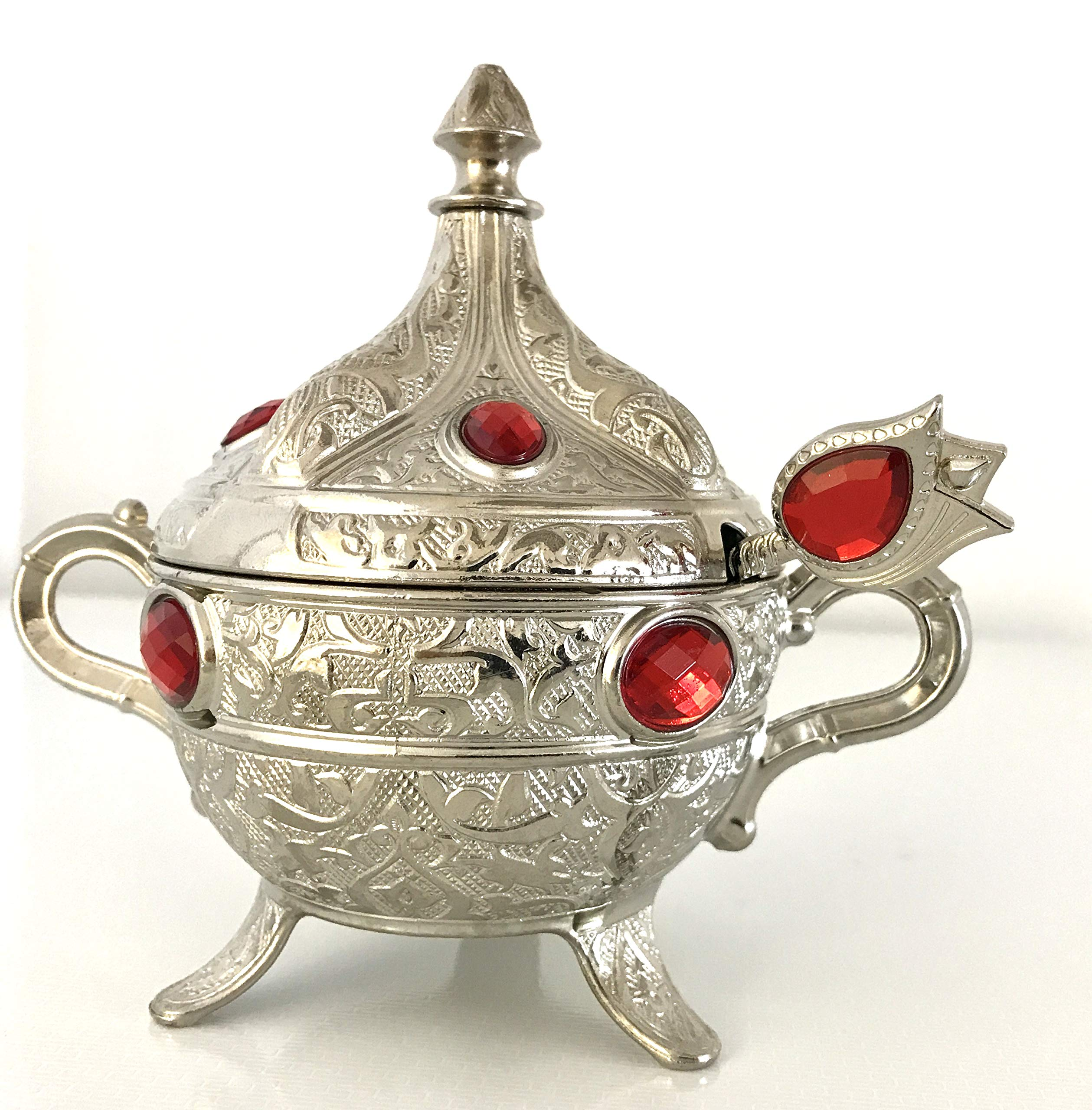 Traditional Turkish Ottoman Serving Bowl Sugar, Turkish Delight, Candy Bowl with Spoon