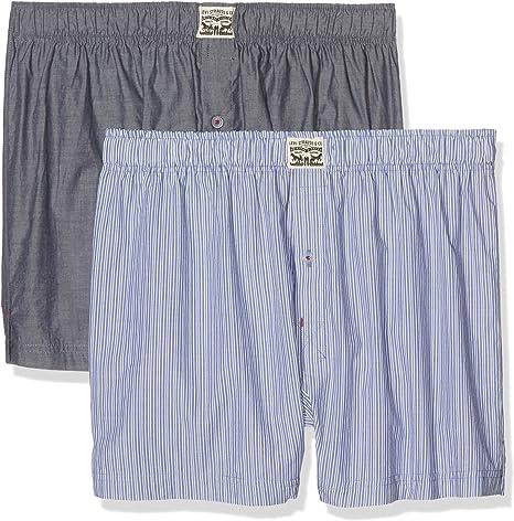 TALLA Small (Talla del fabricante: 010). Levi's Levis 300ls Striped Chambray Woven Boxer 2p (Pack de 2) para Hombre
