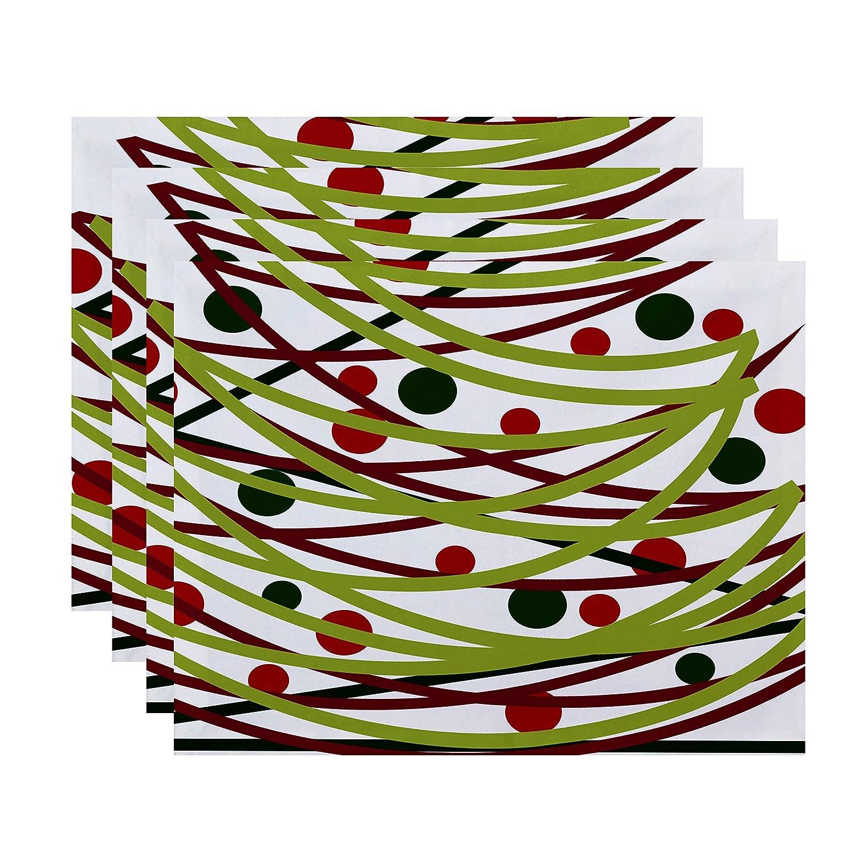 E by design Jump For Joy Doodleデコレーション幾何印刷プレースマット – 4のセット 1 グリーン PT4HGN702GR10 1 グリーン B01MSL3HFP