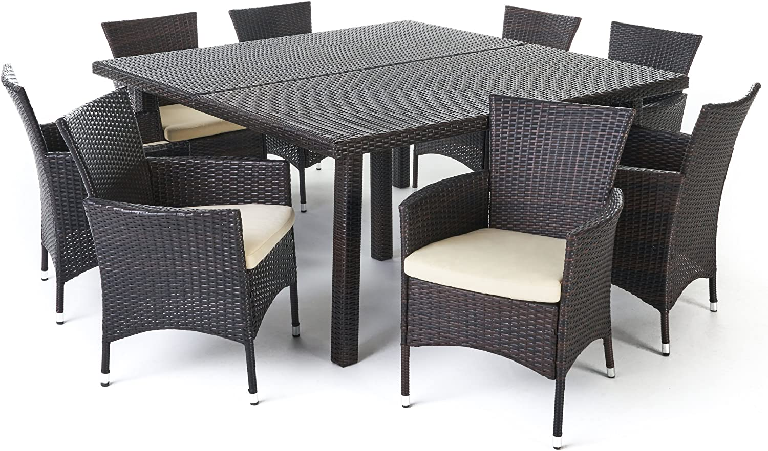 Christopher Knight Home Danae Outdoor 9 Piece Multibrown Wicker Square Dining Set with Beige Water Resistant Cushions 91vDmM-lIzLSL1500_