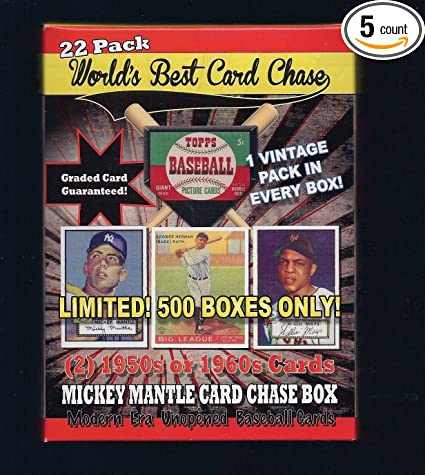 1952 Topps Mickey Mantle Rookie Card Chase Box 22 Pack Limited Run 500 New 2 Cards 50s Or 60s 1 Vintage Wax Pack Guaranteed 1 Graded