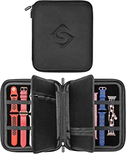 SMARTEC Smart Watch Bands & Accessories Travel/Storage Case, Stores 10+ Bands, Compatible for All Series of Apple Watch Bands (Black)