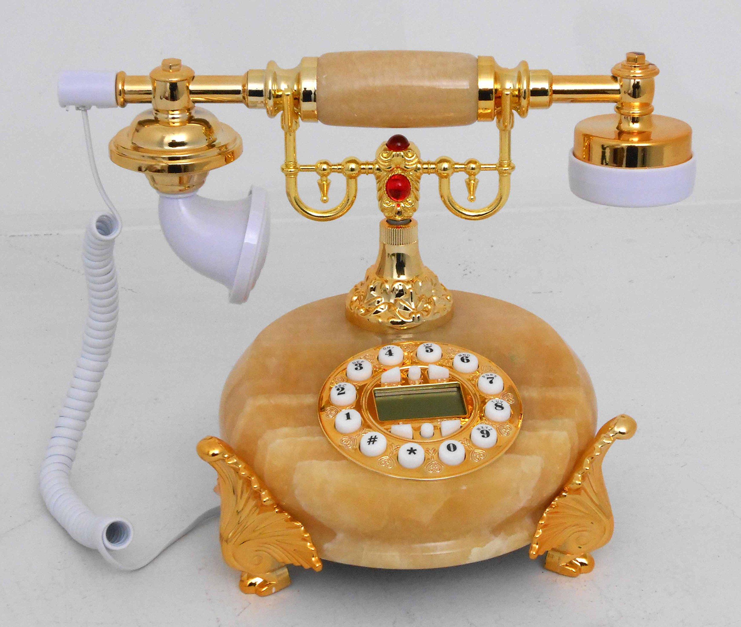 Retro style push button dial desk telephone (onyx) / Home decorative # 1719