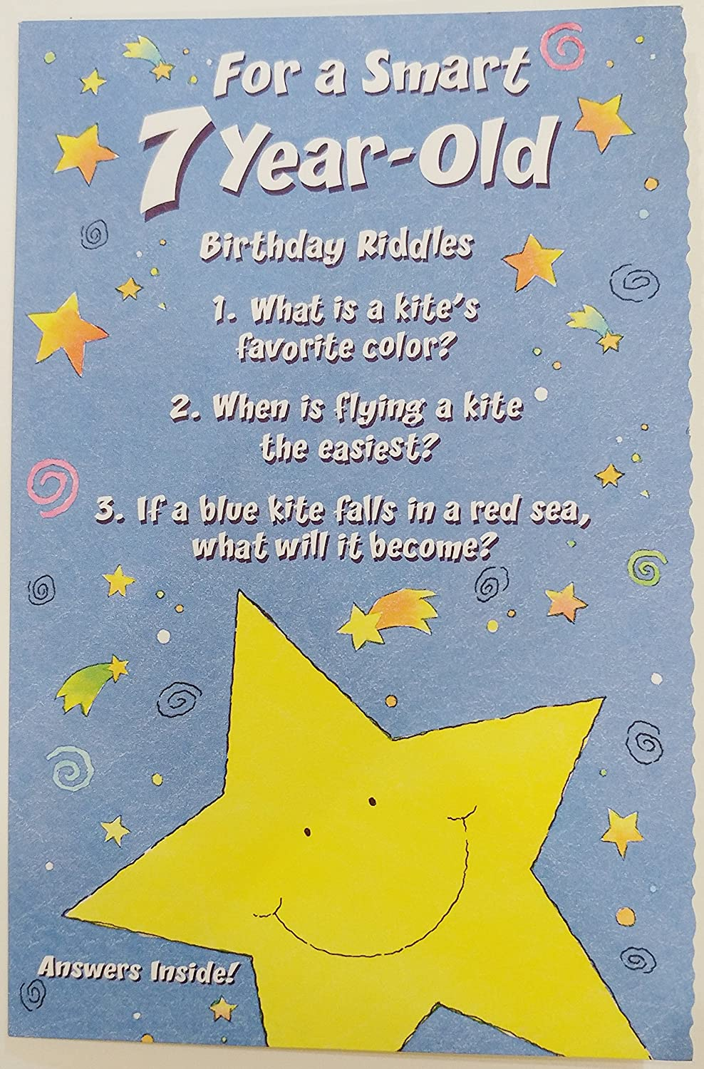 For A Smart 7 Year Old Birthday Riddles Greeting Card Seven Years Old 7th Unisex Amazon Co Uk Office Products