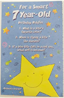 For A Smart 7 Year Old Birthday Riddles Greeting Card Seven Years 7th Unisex