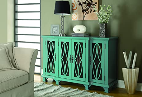 Amazon.com: Coaster Accent Cabinet-Teal Blue: Kitchen & Dining