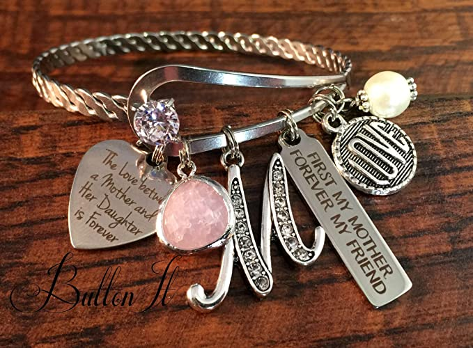 gifts for mom mom christmas gift mother daughter jewelry bangle bracelet initial
