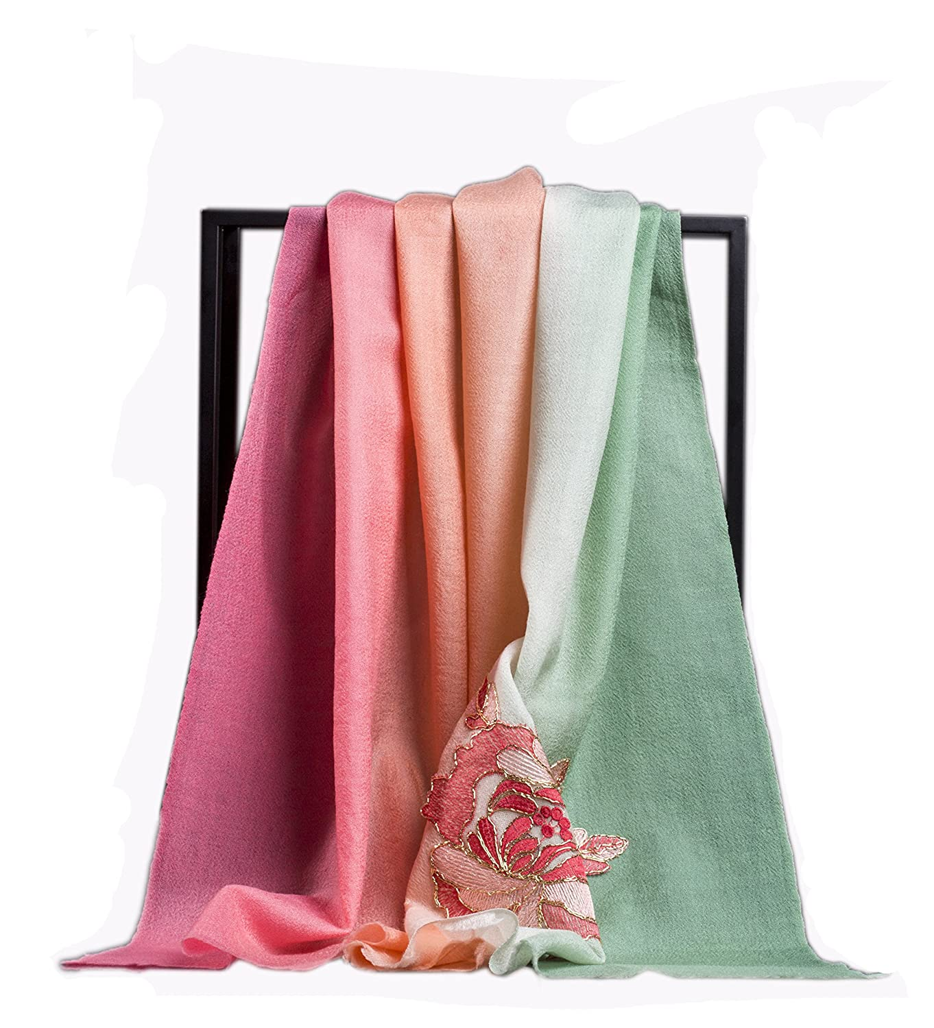 100% Wool Women's Embroidered Scarf (Pink)