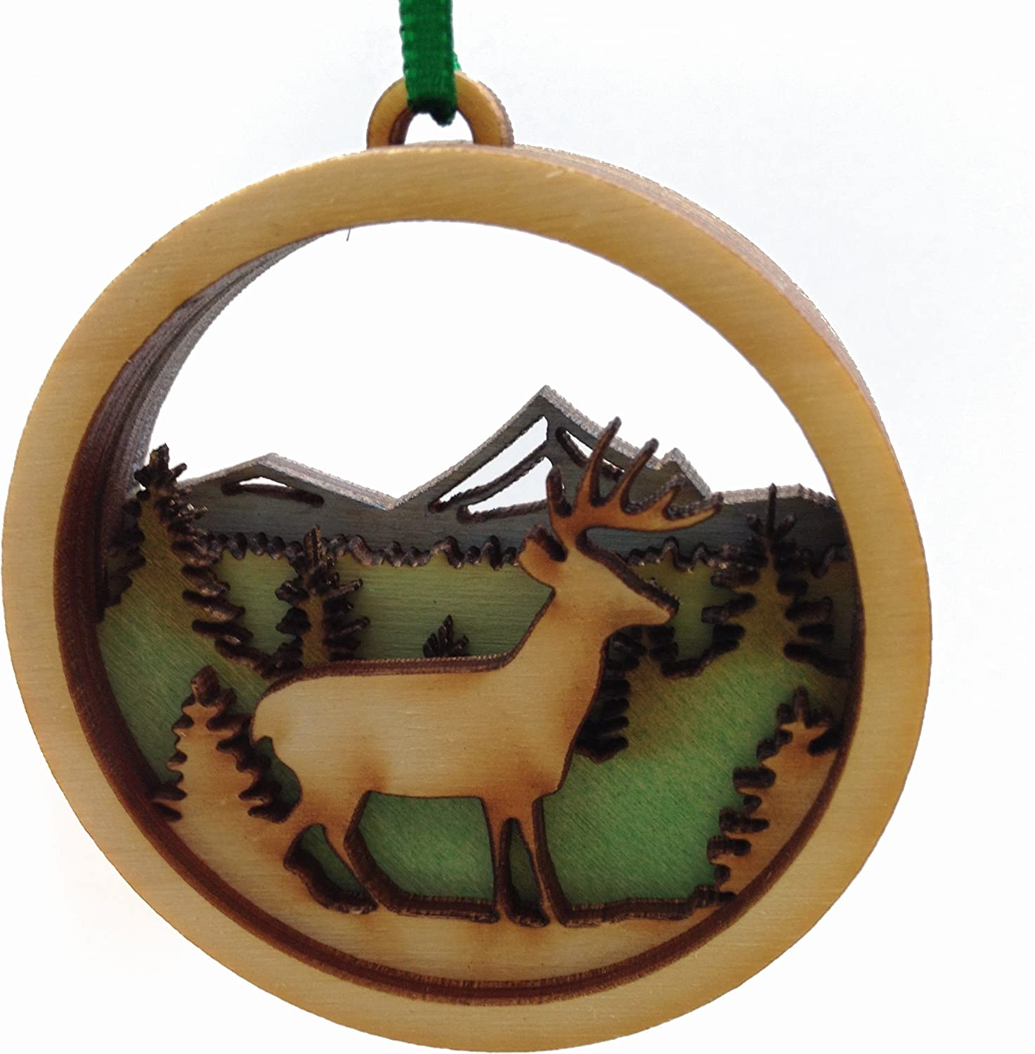 Wooden Deer Stag Holiday Ornament - Made in Maine - Gift Boxed