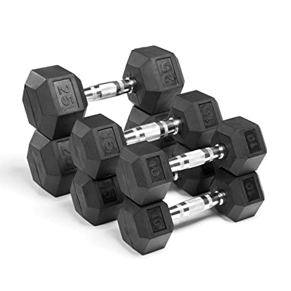 amazon com xmark fitness xm 3301 1025 c rubber hex dumbbellsxmark rubber coated hex dumbbell sets, rubber dumbells sold in set for greater savings, xmark home gym essentials, dumbbells, olympic bars, racks,