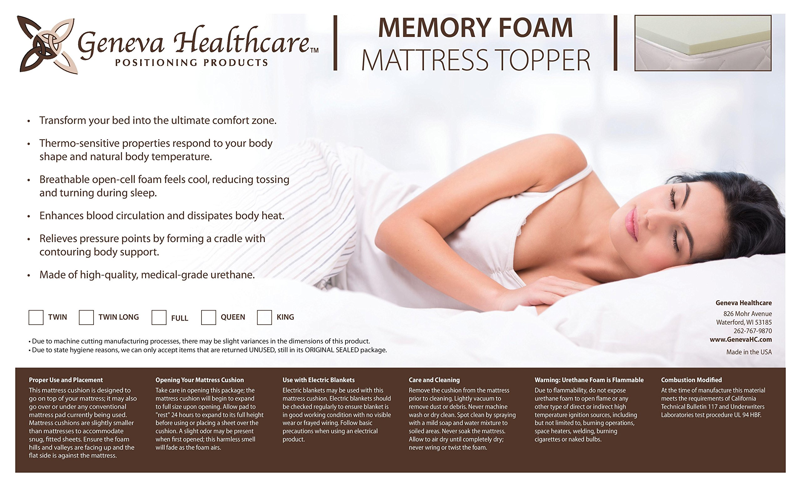 Geneva Healthcare Memory Foam Mattress Pad 1'' Twin Topper - 1'' x 39'' x 75''