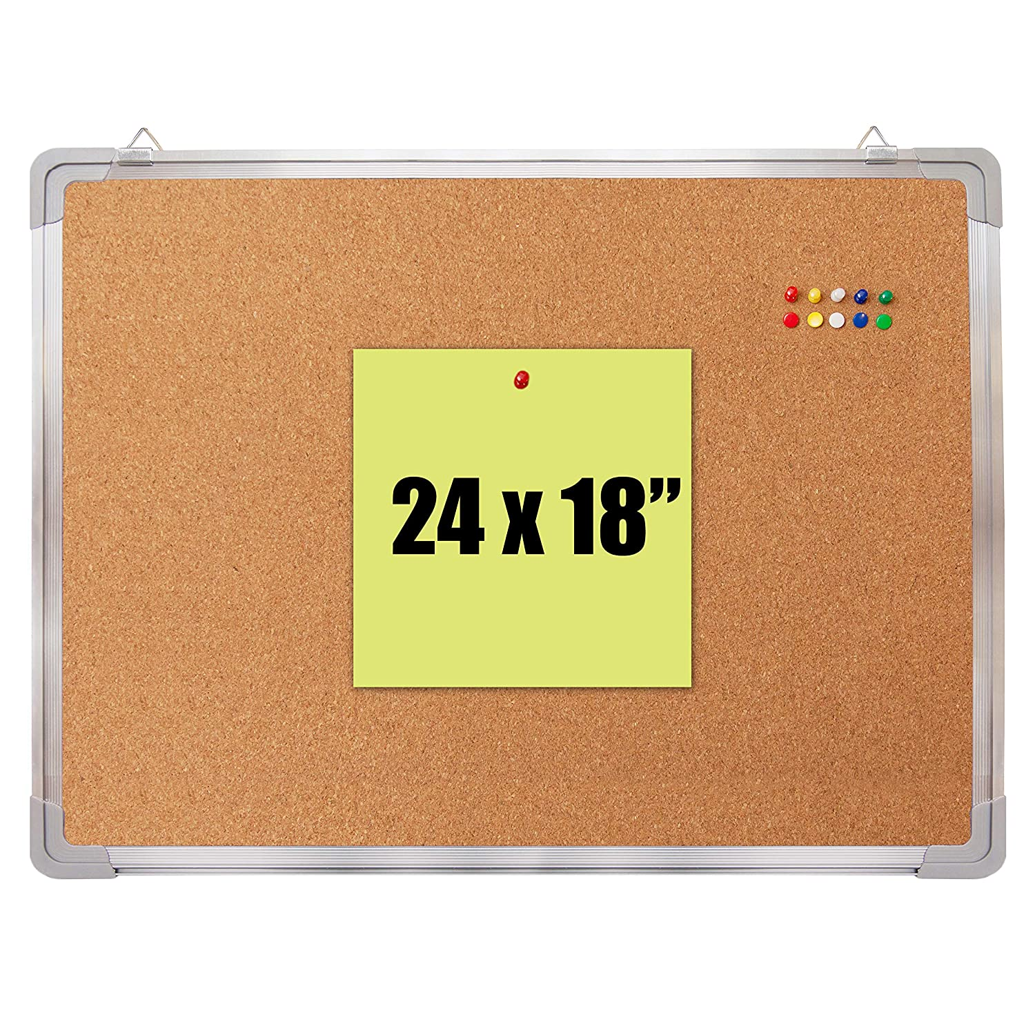 "Cork Board Set - Bulletin Corkboard 24 x 18 inch Framed with 10 Thumb Tacks - Small Wall Hanging Message Memo Pin Tackboard Organizer for Home, Office, Desk and Cubicle (Cork 24x18"")"