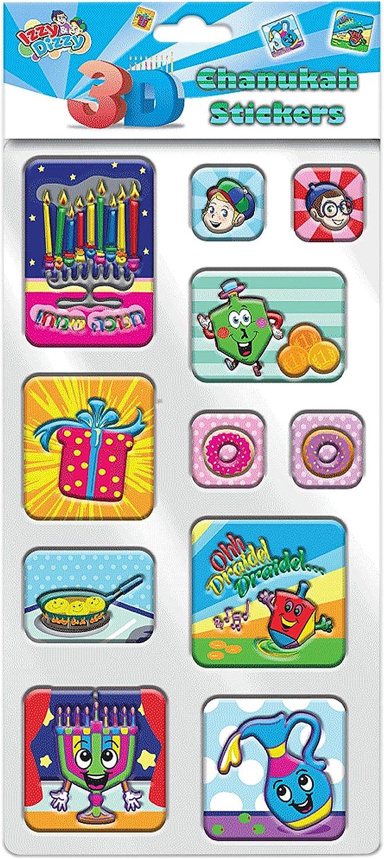 Holiday Stickers 4 Pack Izzy n Dizzy Hanukkah Stickers Embossed 3D- Sheet of Puffy Chanukah Stickers 11 Fun Hanukkah Designs