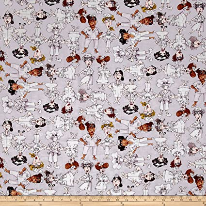 df70dc8d86f Amazon.com: Loralie Designs Nifty Nurses Tossed Nurses Fabric, Gray, Fabric  By The Yard