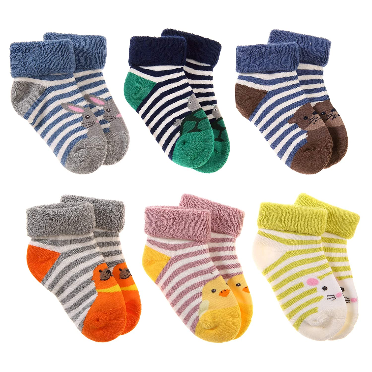 Baby Boy Girls Soft Warm Thick Cotton Kids Winter Socks Cute Animal Toddler Infant Socks 6 Pairs