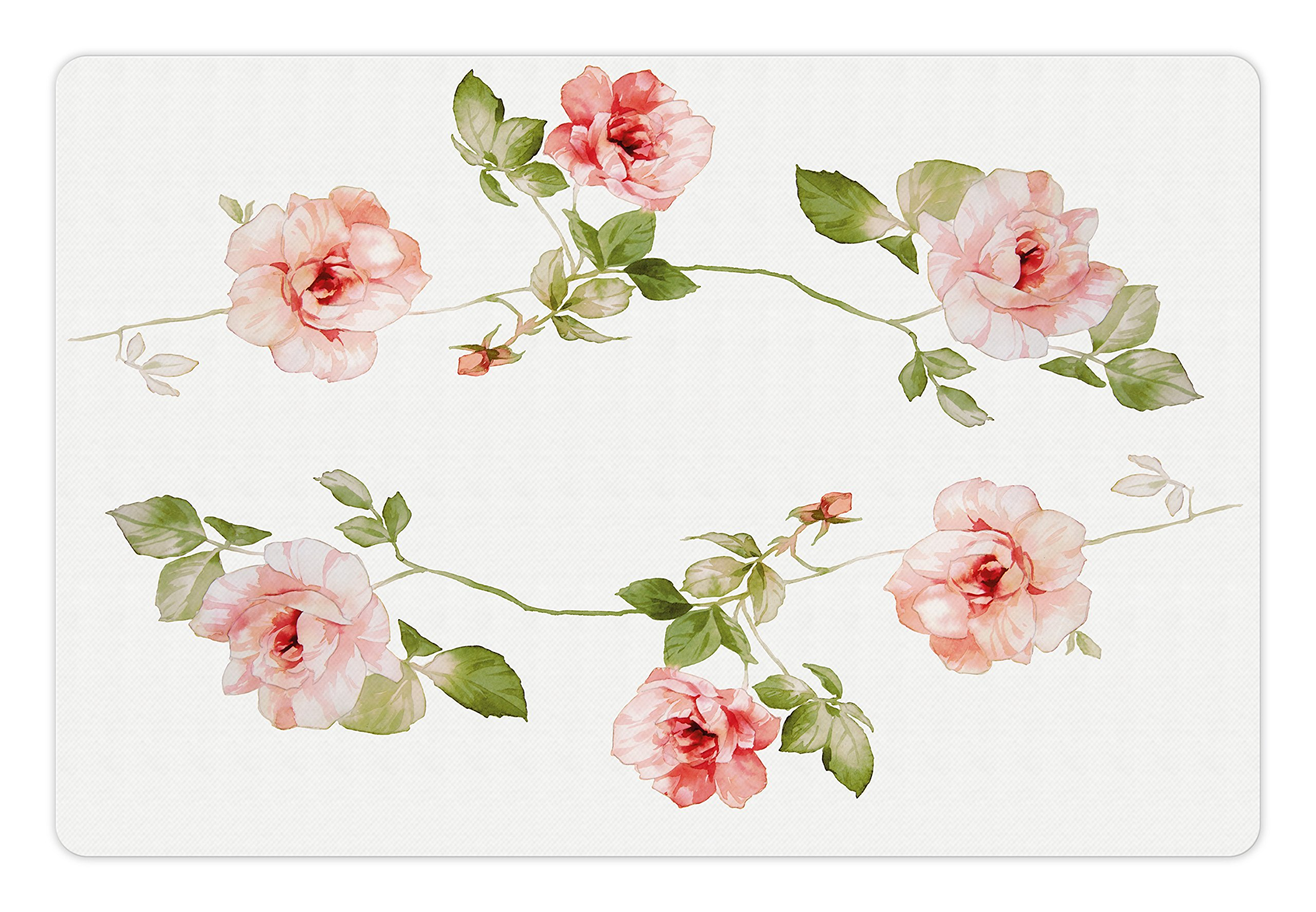 Ambesonne Floral Pet Mat for Food and Water, Romantic Rose Flower Petals Shabby Chic Kitsch Love Blooms Design, Rectangle Non-Slip Rubber Mat for Dogs and Cats, Reseda Green Peach Coral