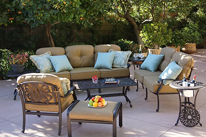 Brilliant Darlee Elisabeth Cast Aluminum 8 Piece Deep Seating Conversation Set With Cushions Series 30 End Tables And Coffee Table Antique Bronze Finish Interior Design Ideas Clesiryabchikinfo