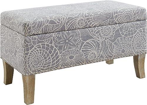 Linon Stone Upholstered Storage Stephanie Ottoman