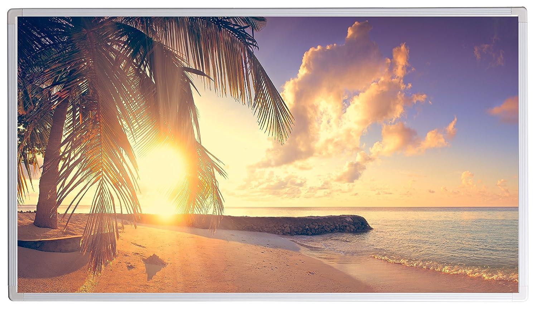 Heizt nach dem Prinzip der Sonne Palme, Strand 2,300 Unsere Ger/äte sind gepr/üft auf Sicherheit durch T/ÜV 5 Jahre Herstellergarantie Bildheizung Infrarotheizung mit Digitalthermostat