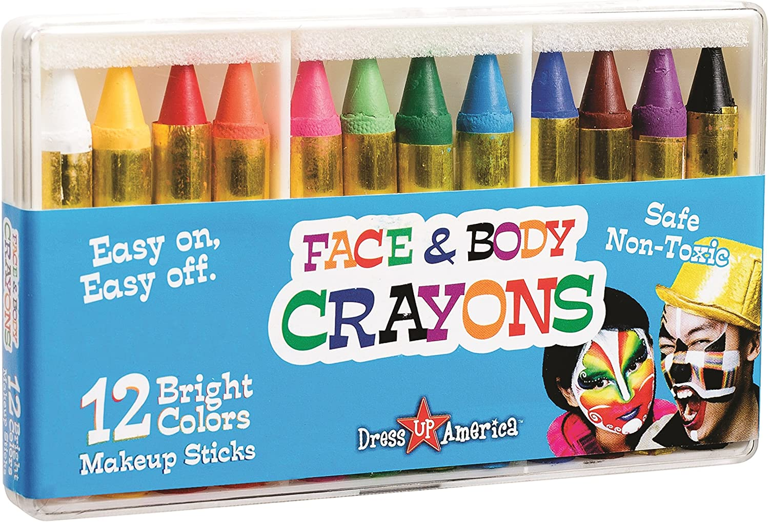 Dress-Up-America Face Paint Kit - Safe, Non-Toxic, Face and Body Paint Crayons Made in Taiwan - Halloween Makeup Face Painting Kit for Kids and Adults (12 piece set)