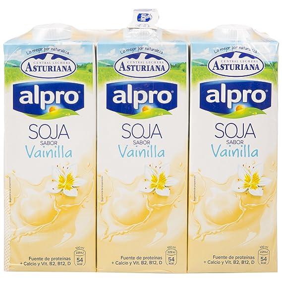 Alpro Central Lechera Asturiana Bebida de Soja Sabor Vainilla - Paquete de 6 x 1000 ml