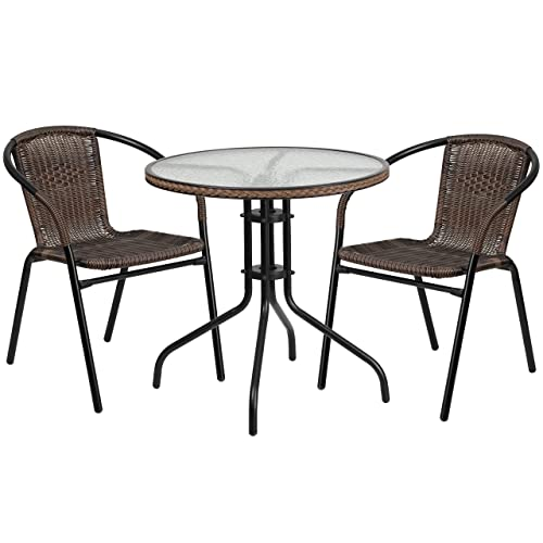 Flash Furniture 28 Round Glass Metal Table with Dark Brown Rattan Edging and 2 Dark Brown Rattan Stack Chairs