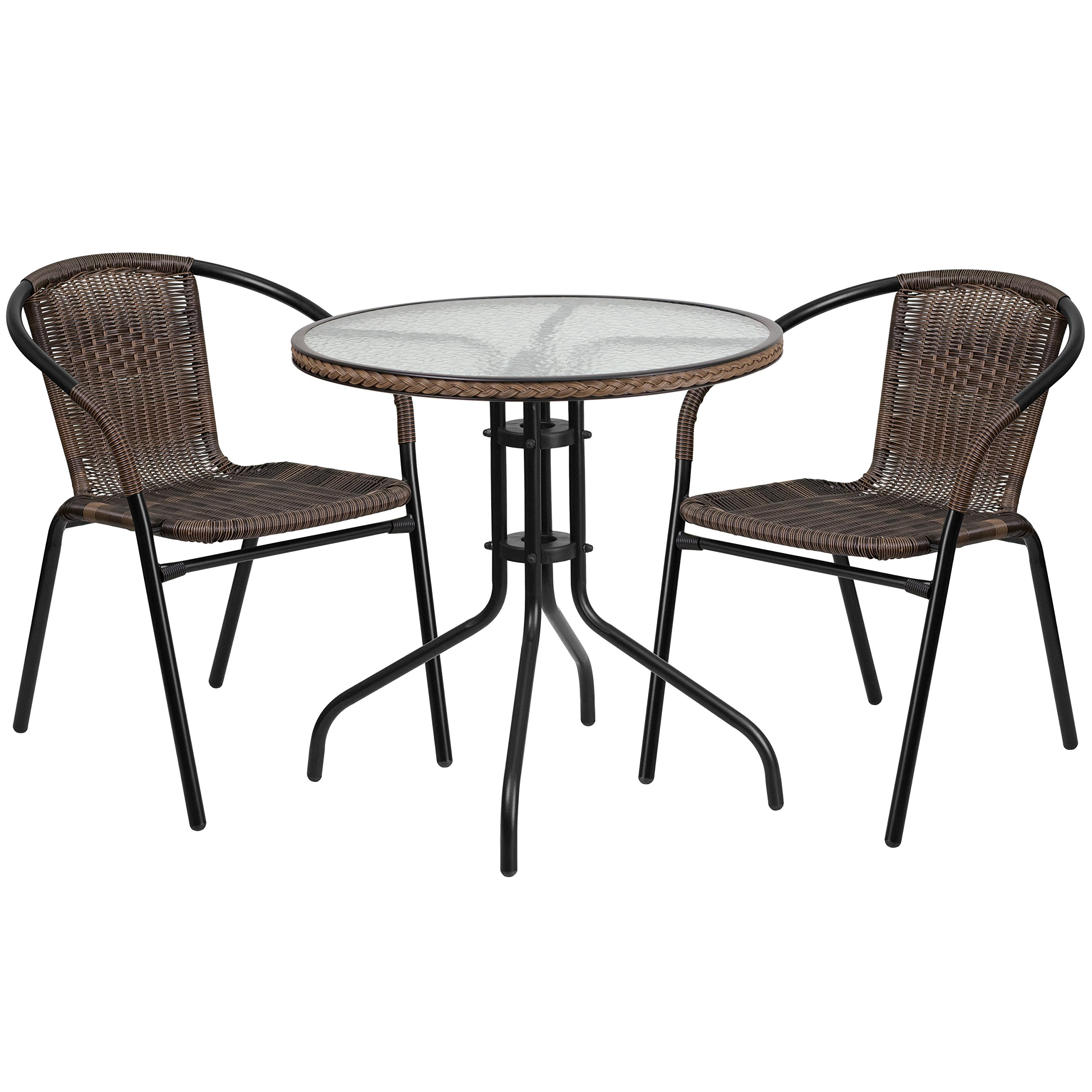 Flash Furniture 28'' Round Glass Metal Table with Dark Brown Rattan Edging and 2 Dark Brown Rattan Stack Chairs