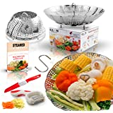 Premium Vegetable Steamer Basket Fits Instant Pot Pressure Cooker,Steam Food with folding steamer Insert 100% Stainless Steel. BONUS ACCESSORIES Safety Tool, Multifunction Peeler,Sharp Knife And eBook