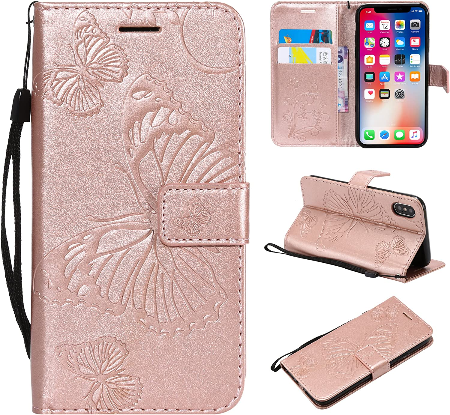 Jaune Cuir PU en Relief Motif Papillon Portefeuille Support Flip Coque Coque pour iPhone 8/ Plus Eazyhurry iPhone 7/ Plus Coque