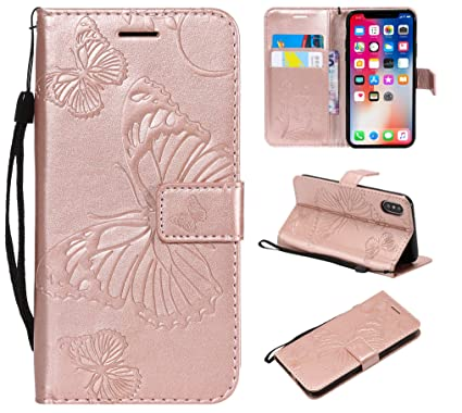 pretty nice 2cf0f df035 iPhone X Wallet Case,iPhone X Case with Card Holder,iPhone X Leather Folio  Flip PU Phone Protective Case Cover with Credit Card Holder Slots for Apple  ...