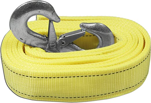 AA Products Heavy Duty 11,000lbs Tow Straps with 2 Safety J Hooks Length 2 X 13 ft