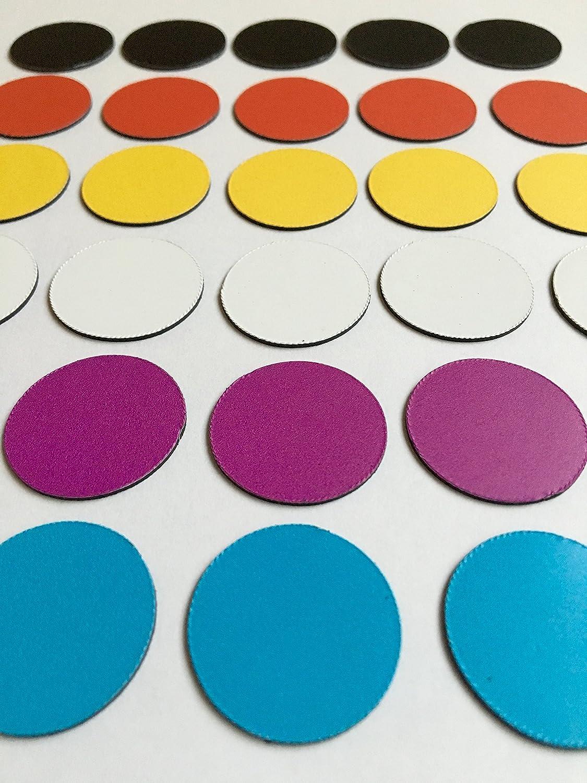 30colorato Magnete magneti (5NERO/5Magnete rosso Magnete/5Giallo/5Bianco Magnete/5viola Magnete/5Blu Magnete)/Ø 2,5cm/z.B. per presentazioni, progetto lavoro, lezioni.. Iposit GmbH