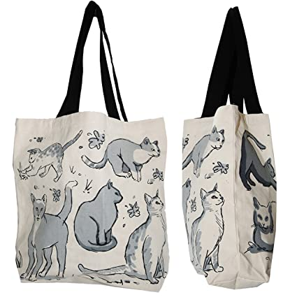 b86893b5c28 Amazon.com: Shopper Tote Bag - Cat Illustrated, Eco-Friendly Reusable  Multipurpose Canvas Grocery Bag: Kitchen & Dining