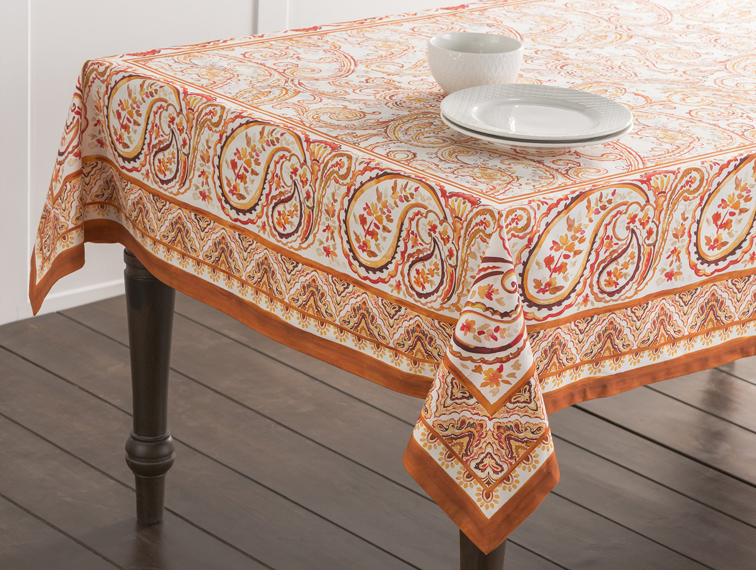 "Maison d' Hermine Palatial Paisley 100% Cotton Tablecloth 60 - Inch by 108 - Inch. - Designed in Europe CHRISTMAS CLEARANCE SALE - SPECIAL DISCOUNT PRICE. This Palatial Paisley tablecloth featured in the list of HOUSE BEAUTIFUL's ""16 Thanksgiving Tablecloths You'll Want To Keep Year Round"". 100% Cotton & Machine Washable. Package Includes : 1 Tablecloth - tablecloths, kitchen-dining-room-table-linens, kitchen-dining-room - 91vEQef5twL -"