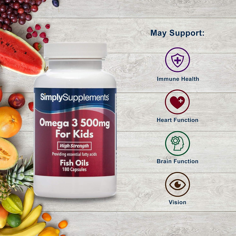 Omega 3 500mg para niños - ¡Bote para 1 año! - 360 comprimidos - Con DHA y EPA - SimplySupplements
