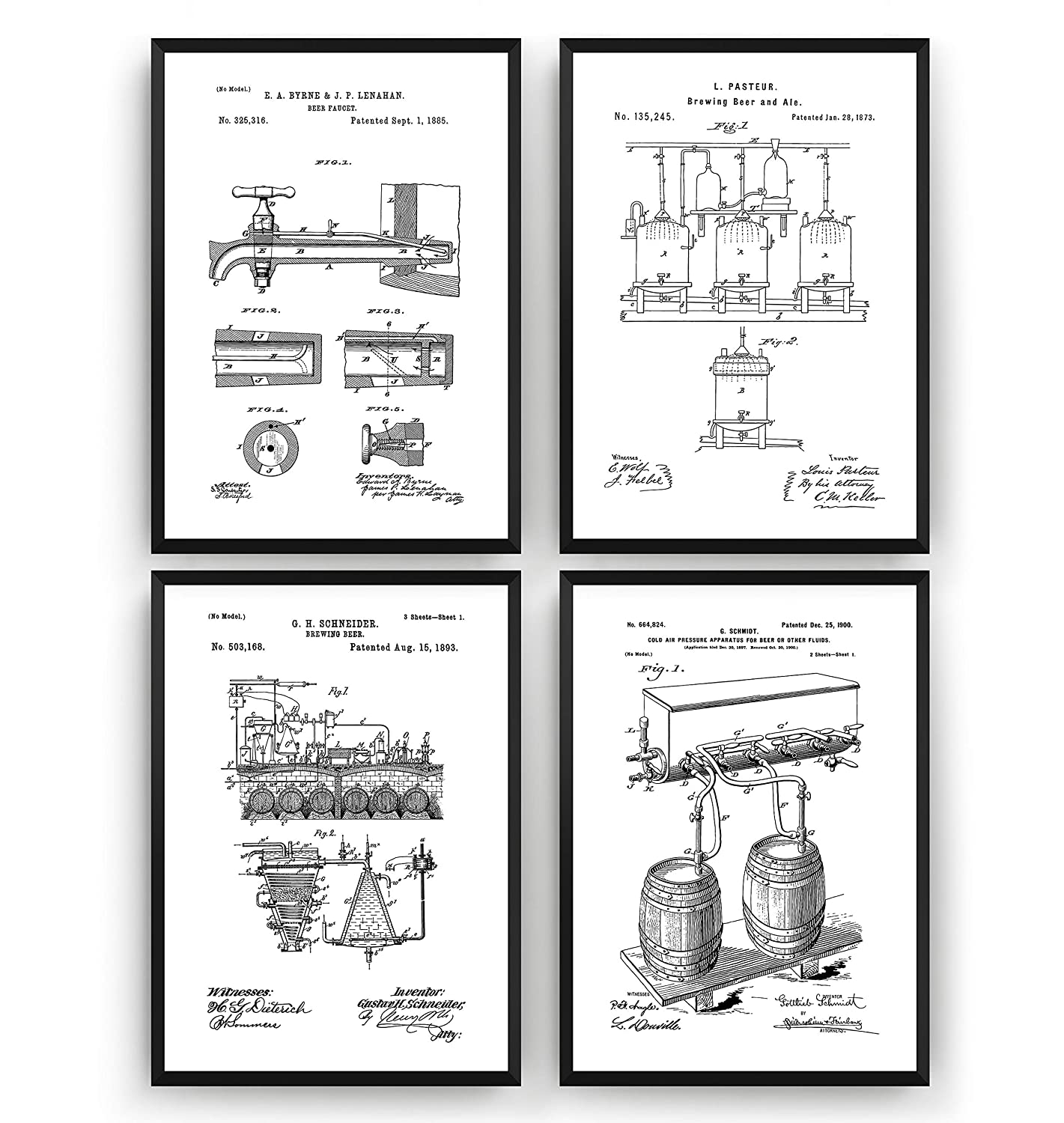 Brewing Gift Bar Fathers Science Vintage Making Blueprint Wall Dads Pub Poster Art Set Of 4 Beer Patent Prints Frame Not Included