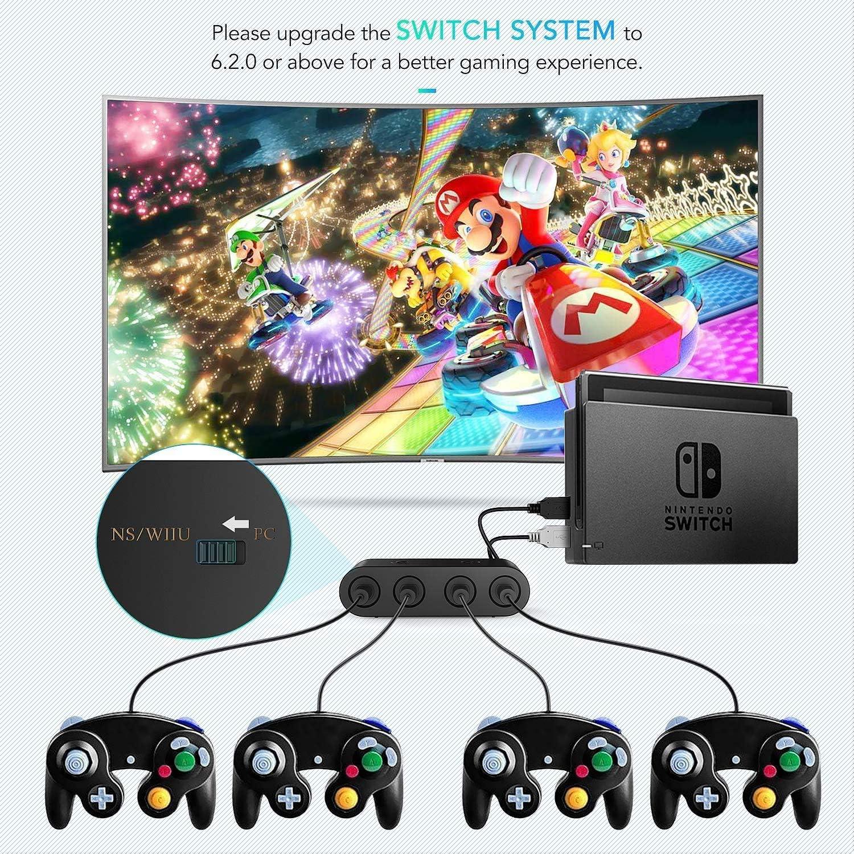 Gamecube Controller Adapter para Nintendo Switch/Wii U/PC, (Versión Mejorada) Adaptador de mandos Gamecube para Wii U y PC con 4 Puertos: Amazon.es: Videojuegos